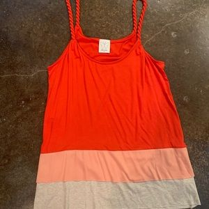 Ella Moss rope strap red tier blouse xs